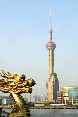 Photo  View of Pudong and Chinese Dragon, Shanghai, China