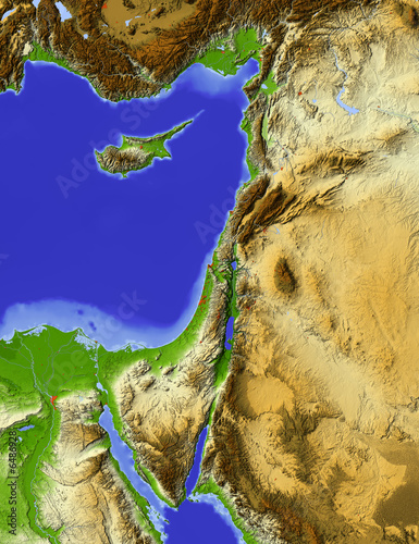 Shaded relief map of Palestine #6486928