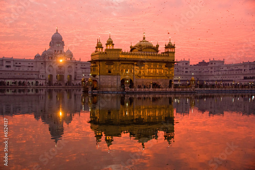 Tuinposter India Sunset at Golden Temple, Amritsar, India.