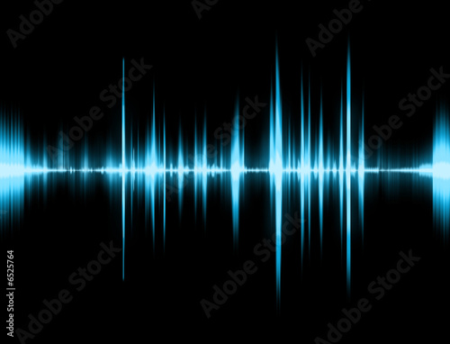 Fotografie, Obraz  Graphic of a digital sound on black bottom