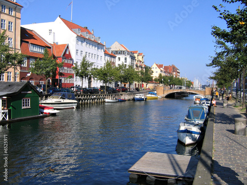 Copenhagen - water front houses and boats Poster
