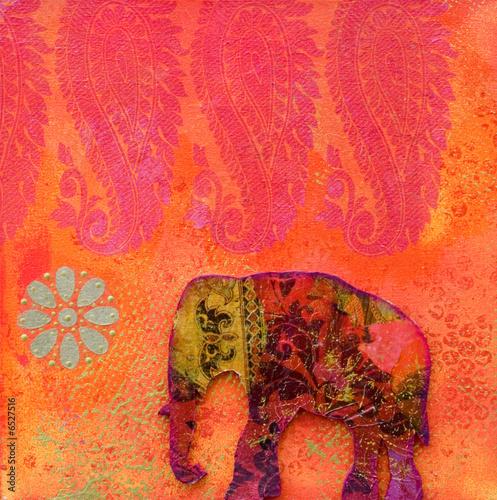 Foto-Stoff bedruckt - Elefant Kollage (von Sunnydays)