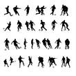 canvas print picture - fussballer silhouetten