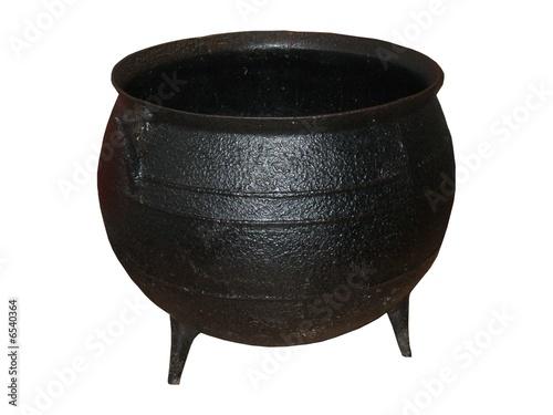 A Large Black Iron Cauldron.
