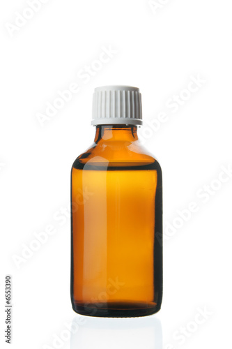 Single small bottle with drug Canvas Print
