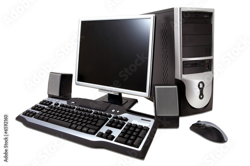 Fotografía  desktop computer with lcd monitor, keyboard, speaker and mouse,