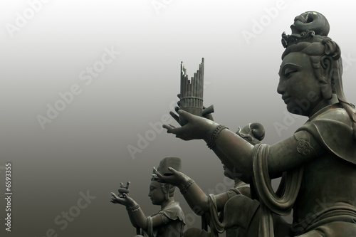 Tuinposter Boeddha The buddha worshipers