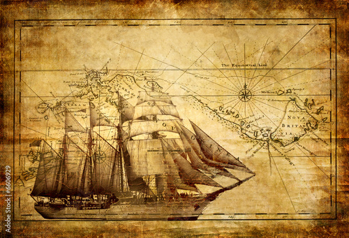 Fotobehang Schip adventures stories - vintage background