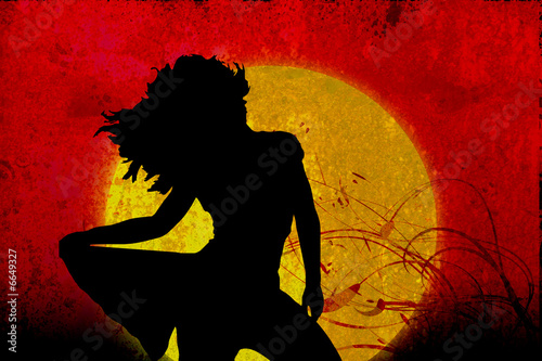Fototapeta Tramonto con donna Grunge - Swirl obraz na płótnie