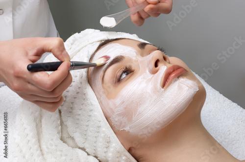 Fotografie, Tablou  beauty salon series, facial mask applying