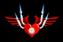 Vector Retro Motor Heart On Black
