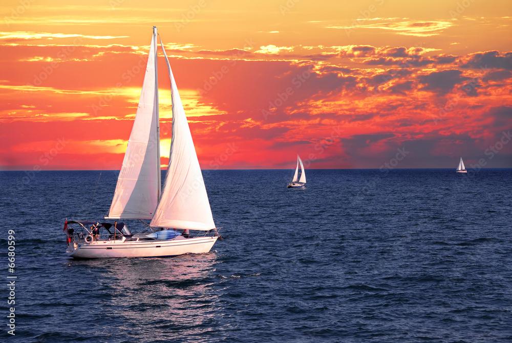 Foto-Schiebegardine Komplettsystem - Sailboats at sunset