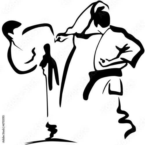 Stickers pour porte Combat karate kämpfer