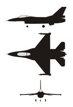 Silhouette Illustration Of Jet-fighter F-16