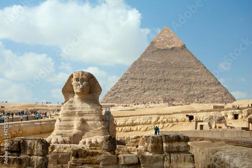 Egypt the Sphynx and Pyramid under blue sky