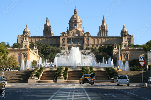 Photo  Catalonian national museum MNAC and Magic Fountain in Barcelona