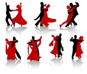 Sylwetki par tańczących tańca towarzyskiego.