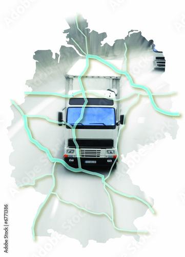 Cuadros en Lienzo carte allemagne camion route