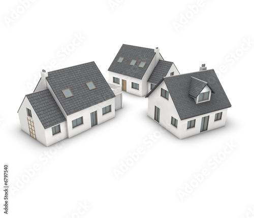 3 Wohnhauser Mit Balkon Garage Und Dachgaube Buy This Stock Photo