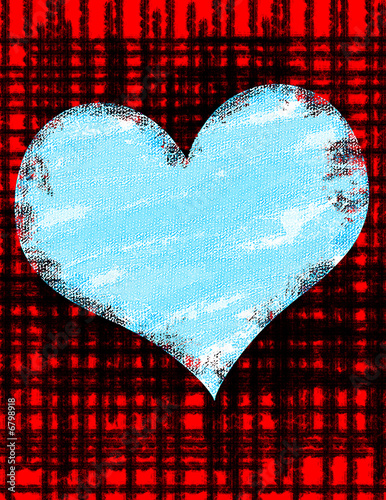 Staande foto Vintage Poster Blue Grunge Heart Background