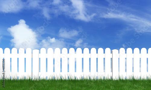 Photo  palissade avec herbe verte et ciel bleu