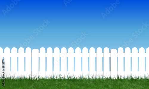 Fotografie, Obraz  palissade avec herbe verte et ciel bleu