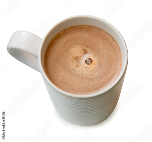 Spoed Foto op Canvas Chocolade Hot chocolate in a cup isolated on white