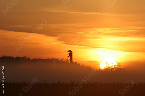 Staande foto Helicopter Sunrise over the forest and control tower