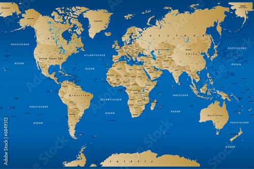 Foto op Canvas Wereldkaart weltkarte001