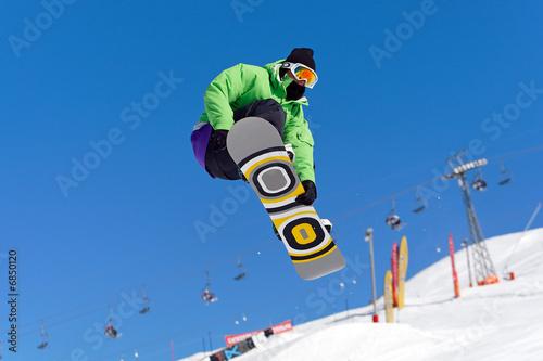 Fotografie, Obraz  Saut snowboarder