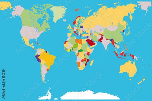 Staande foto Wereldkaart weltkarte_kompass_städte_länder_wasser