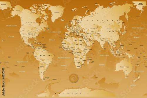 Poster Carte du monde weltkarte_Braun_01