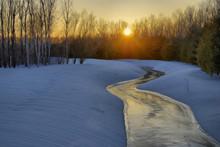 Icy Stream Sunset