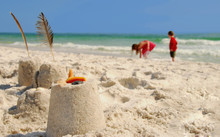 Sand Castles And Kids Collecting Shells