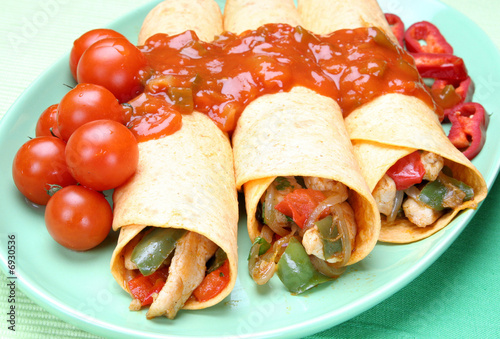 Staande foto Snack Food,rolled filled pastry(burito) with chicken meat