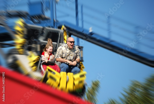 Staande foto Amusementspark Father and Daughter on Rollercoaster