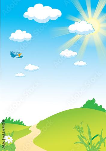 Foto-Plissee - Landscape_with_sun_and_bird_rastr_only (von Dmitry Golobokov)