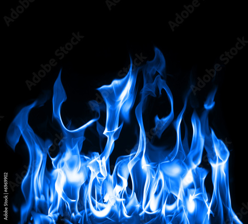 Stickers pour porte Feu, Flamme Blue flames
