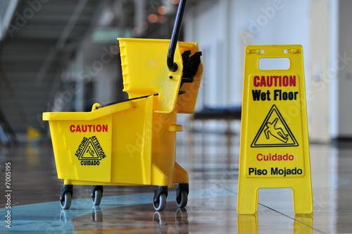 Fotografie, Obraz  Caution Wet Floor