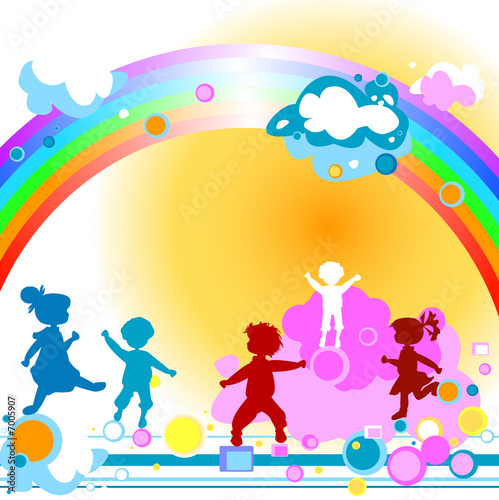 In de dag Regenboog Kids and rainbow