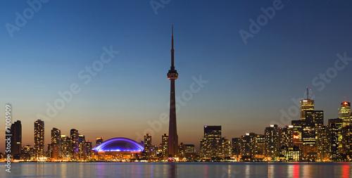 Panorama of Toronto skyline at dusk