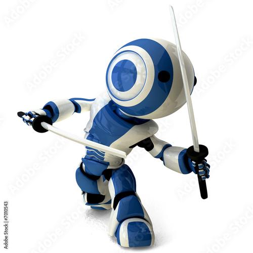 Photo  Glossy Blue Robot Ninja Holding Katanas