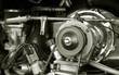Leinwandbild Motiv exposed 1960's camper van engine