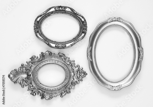 Silver ornate oval frames, one grunge and rusty - Buy this stock ...