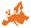 Leinwanddruck Bild - Europakarte