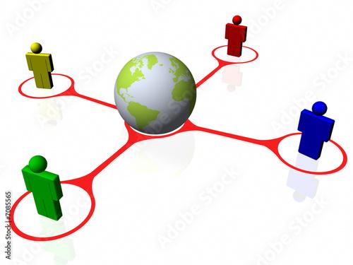 Tela Red social de miembros de todo el planeta
