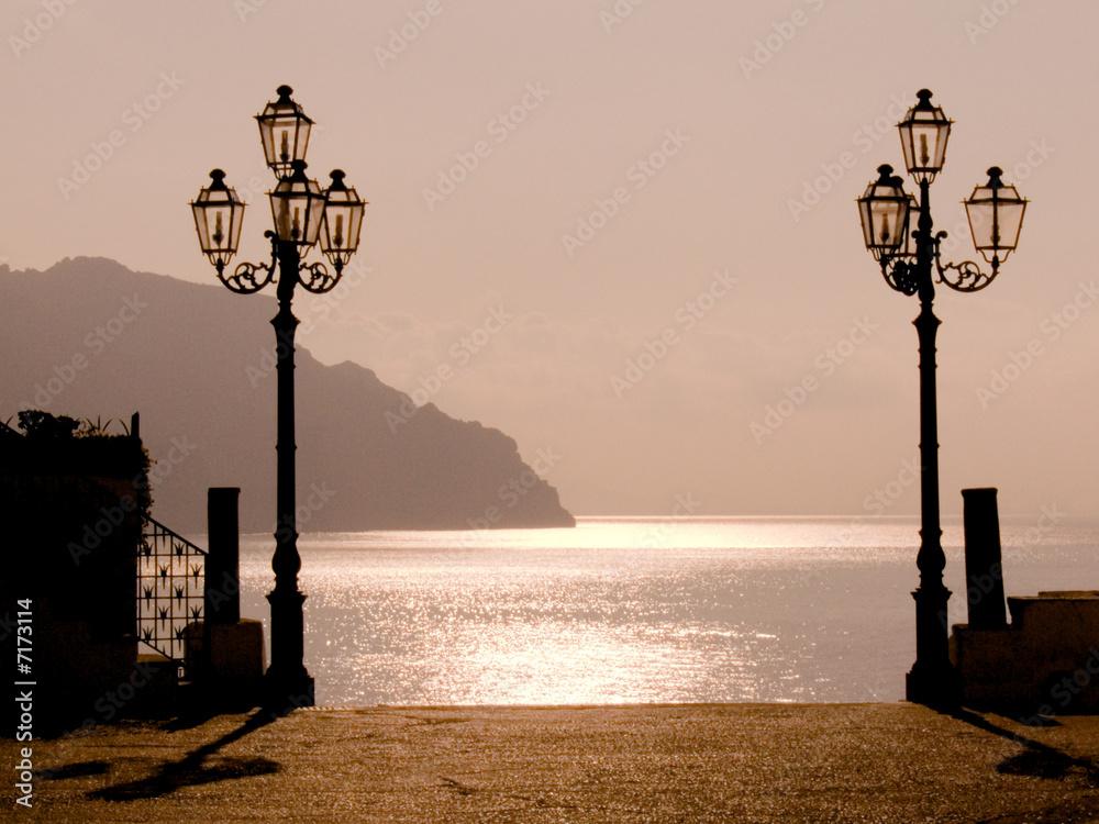 Foto-Schiebegardine Komplettsystem - sunset on the coast of Amalfi