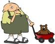 Boy Pulling A Wagon