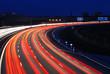 Leinwanddruck Bild - Nachtverkehr auf Autobehn