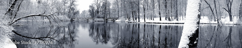 Aluminium Prints Dark grey Lake in winter panorama